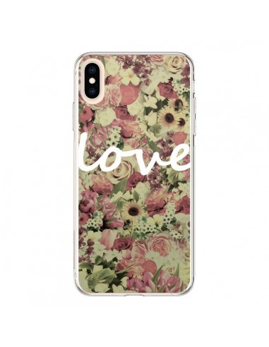 Coque iPhone XS Max Love Blanc Flower - Monica Martinez