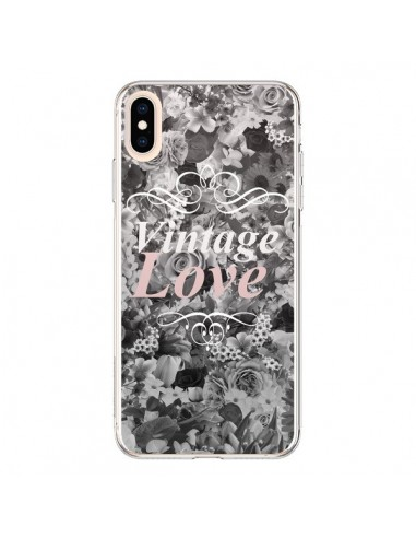 Coque iPhone XS Max Vintage Love Noir Flower - Monica Martinez