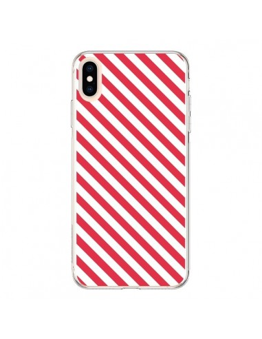 Coque iPhone XS Max Bonbon Candy Rose et Blanche Rayée - Nico