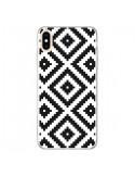 Coque iPhone XS Max Diamond Chevron Black and White - Pura Vida