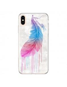 Coque iPhone XS Max Plume arc-en-ciel - Rachel Caldwell