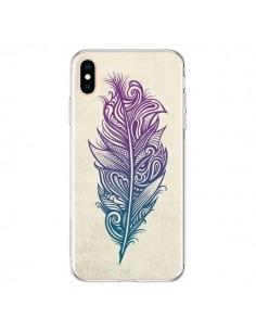 Coque iPhone XS Max Feather Plume Arc En Ciel - Rachel Caldwell