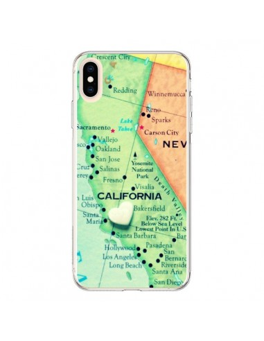 Coque iPhone XS Max Carte Map Californie - R Delean