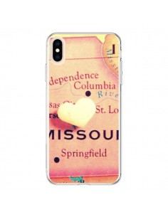 Coque iPhone XS Max Carte Map Missouri Coeur - R Delean