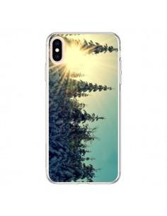 Coque iPhone XS Max Hiver Paysage Neige Montagnes Sapins Ski - R Delean