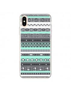 Coque iPhone XS Max Azteque Aztec Bleu Pastel - Rex Lambo