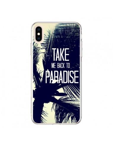 Coque iPhone XS Max Take me back to paradise USA Palmiers - Tara Yarte