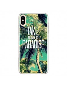 Coque iPhone XS Max Take me back to paradise USA Palmiers Palmtree - Tara Yarte