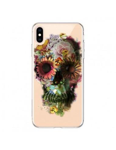 Coque iPhone XS Max Skull Flower Tête de Mort Transparente souple - Ali Gulec
