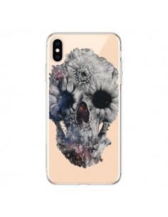 Coque iPhone XS Max Floral Skull Tête de Mort Transparente souple - Ali Gulec