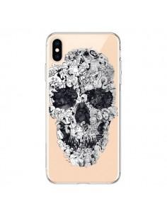 Coque iPhone XS Max Doodle Skull Dessin Tête de Mort Transparente souple - Ali Gulec