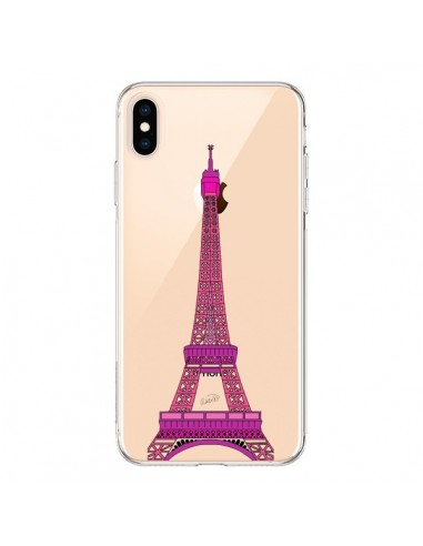 Coque iPhone XS Max Tour Eiffel Rose Paris Transparente souple - Asano Yamazaki