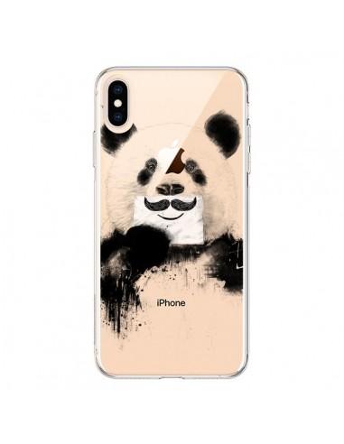 Coque iPhone XS Max Funny Panda Moustache Transparente souple - Balazs Solti