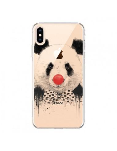 Coque iPhone XS Max Clown Panda Transparente souple - Balazs Solti