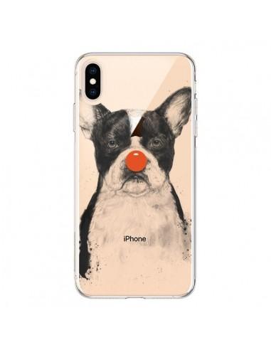 Coque iPhone XS Max Clown Bulldog Dog Chien Transparente souple - Balazs Solti