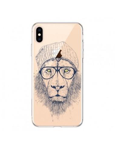Coque iPhone XS Max Cool Lion Swag Lunettes Transparente souple - Balazs Solti
