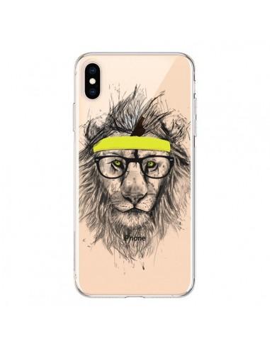Coque iPhone XS Max Hipster Lion Transparente souple - Balazs Solti