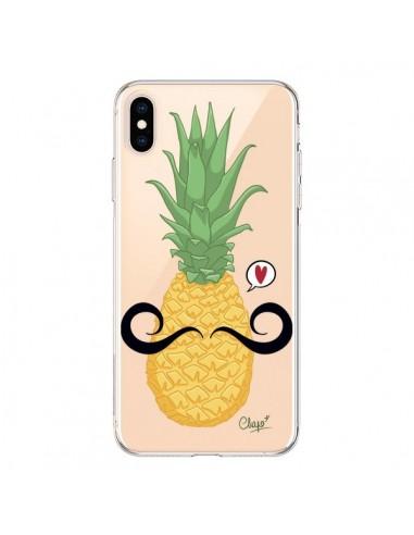 Coque iPhone XS Max Ananas Moustache Transparente souple - Chapo