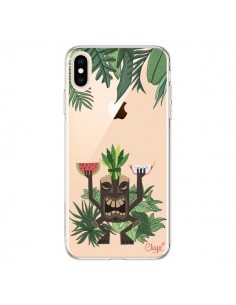 Coque iPhone XS Max Tiki Thailande Jungle Bois Transparente souple - Chapo