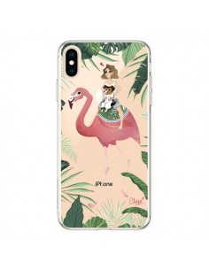 Coque iPhone XS Max Lolo Love Flamant Rose Chien Transparente souple - Chapo