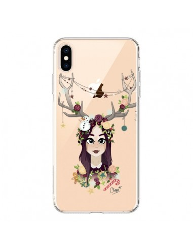 Coque iPhone XS Max Christmas Girl Femme Noel Bois Cerf Transparente souple - Chapo