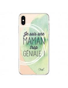 Coque iPhone XS Max Je suis une Maman trop Géniale Vert Transparente souple - Chapo