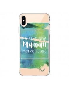 Coque iPhone XS Max Je suis une Maman Merveilleuse Bleu Vert Transparente souple - Chapo