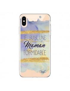 Coque iPhone XS Max Je suis une Maman Formidable Violet Transparente souple - Chapo