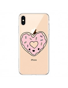 Coque iPhone XS Max Donuts Heart Coeur Rose Transparente souple - Claudia Ramos