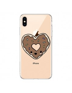 Coque iPhone XS Max Donuts Heart Coeur Chocolat Transparente souple - Claudia Ramos
