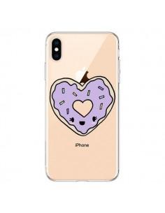 Coque iPhone XS Max Donuts Heart Coeur Violet Transparente souple - Claudia Ramos