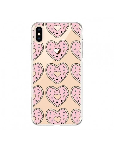 Coque iPhone XS Max Donuts Heart Coeur Rose Pink Transparente souple - Claudia Ramos