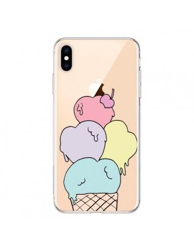 Coque iPhone XS Max Ice Cream Glace Summer Ete Coeur Transparente souple - Claudia Ramos