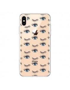 Coque iPhone XS Max Eyes Oeil Yeux Bleus Mosaïque Transparente souple - Léa Clément