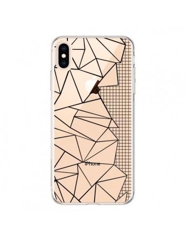 Coque iPhone XS Max Lignes Grilles Side Grid Abstract Noir Transparente souple - Project M