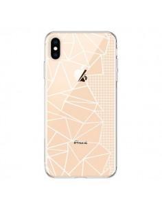 Coque iPhone XS Max Lignes Grilles Side Grid Abstract Blanc Transparente souple - Project M