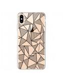 Coque iPhone XS Max Lignes Grilles Triangles Grid Abstract Noir Transparente souple - Project M
