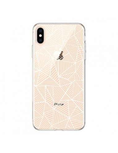 Coque iPhone XS Max Lignes Grilles Triangles Full Grid Abstract Blanc Transparente souple - Project M
