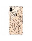 Coque iPhone XS Max Lignes Triangles Grid Abstract Noir Transparente souple - Project M