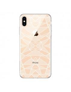 Coque iPhone XS Max Lignes Miroir Grilles Triangles Grid Abstract Blanc Transparente souple - Project M