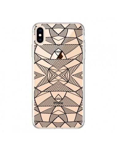 Coque iPhone XS Max Lignes Miroir Grilles Triangles Grid Abstract Noir Transparente souple - Project M