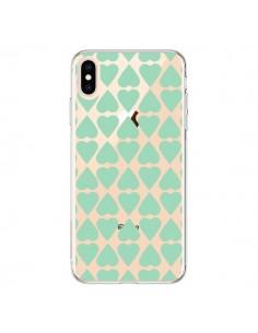 Coque iPhone XS Max Coeurs Heart Mint Bleu Vert Transparente souple - Project M