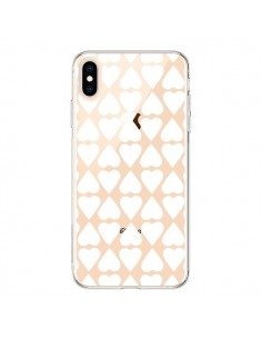 Coque iPhone XS Max Coeurs Heart Blanc Transparente souple - Project M
