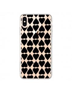 Coque iPhone XS Max Coeurs Heart Noir Transparente souple - Project M