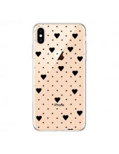 Coque iPhone XS Max Point Coeur Noir Pin Point Heart Transparente souple - Project M