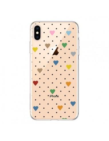 Coque iPhone XS Max Point Coeur Coloré Pin Point Heart Transparente souple - Project M