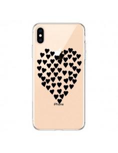 Coque iPhone XS Max Coeurs Heart Love Noir Transparente souple - Project M