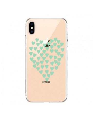 Coque iPhone XS Max Coeurs Heart Love Mint Bleu Vert Transparente souple - Project M