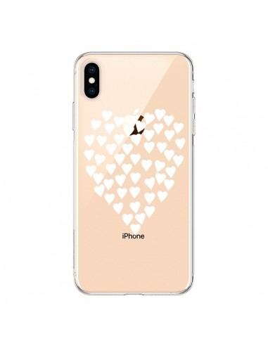Coque iPhone XS Max Coeurs Heart Love Blanc Transparente souple - Project M
