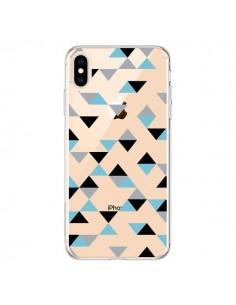 Coque iPhone XS Max Triangles Ice Blue Bleu Noir Transparente souple - Project M